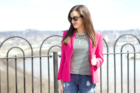 Hot Pink Blazer with Striped Top