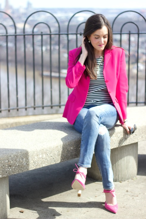 Pink Blazer with Skinny Ripped Jeans
