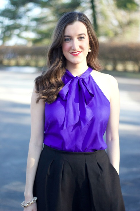 Purple J.Crew Bow Top