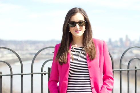 Striped Madewell Top with Pink Blazer