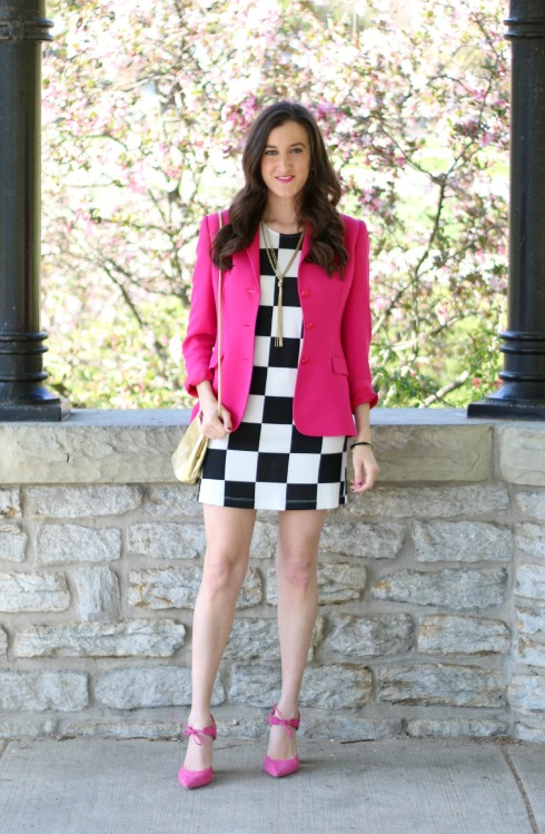 Checkered Dress with Pink Blazer