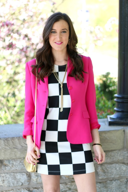 Pink Blazer with Black and White Checkered Dress