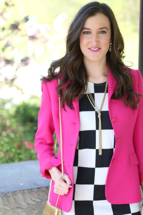 Pink Blazer with Black and White Dress