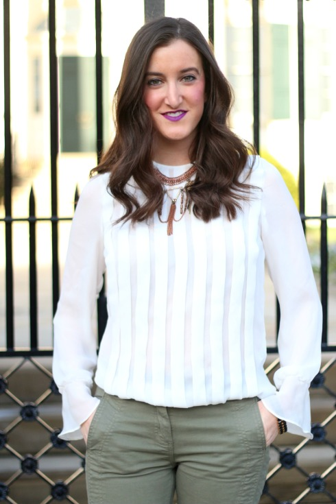 White Pleated Zara Blouse