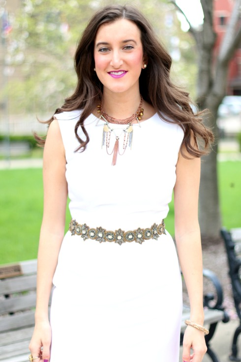 White Spring Dress with Brown Accessories