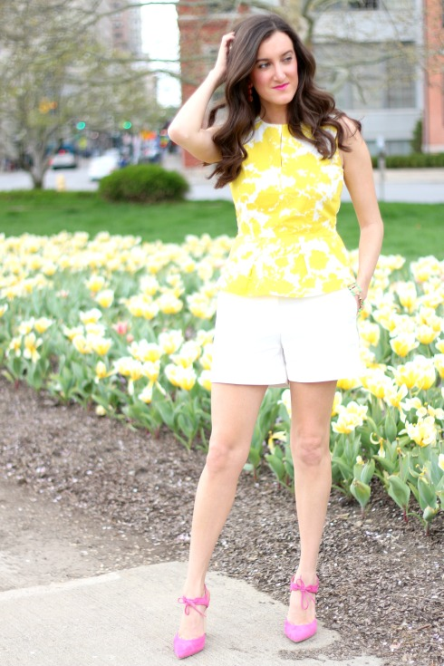 Yellow and White Peplum Top with Tailored Shorts