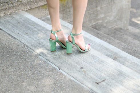 Green Metallic Heels