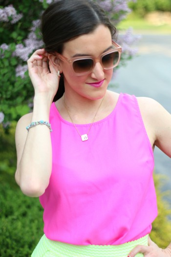 Hot Pink Sleeveless Top with Sunglasses