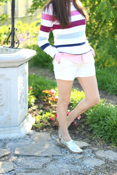 Metallic Oxfords Striped Pink and Blue Sweater