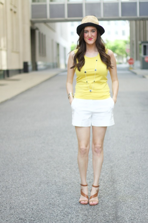 Yellow Top White Shorts