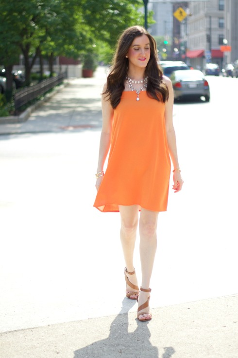 Flowy Orange Cocktail Dress