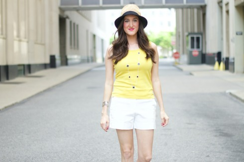 White Shorts with Yellow Tank