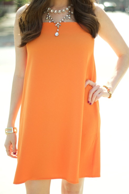 Gold Jewelry Orange Dress