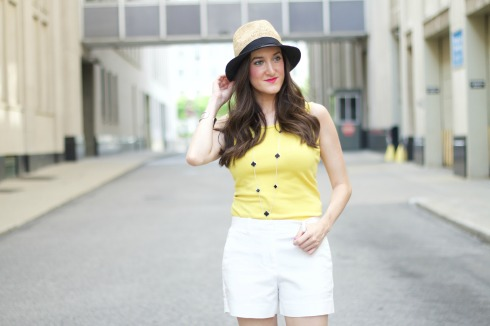Womens Fedora with White Tailored Shorts