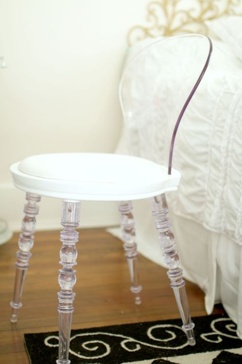 Lucite and White Chair