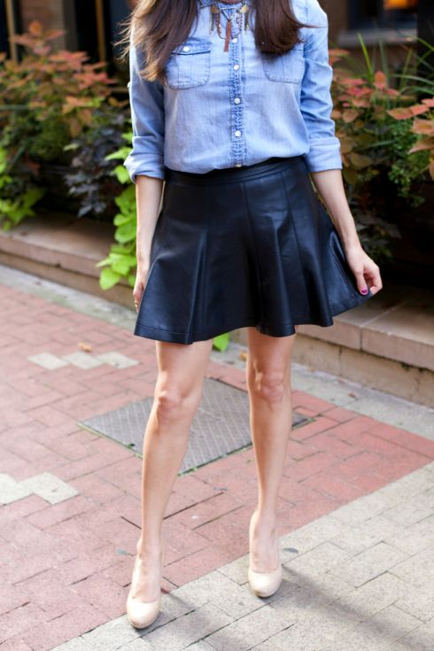 Black Pleated Leather Skirt