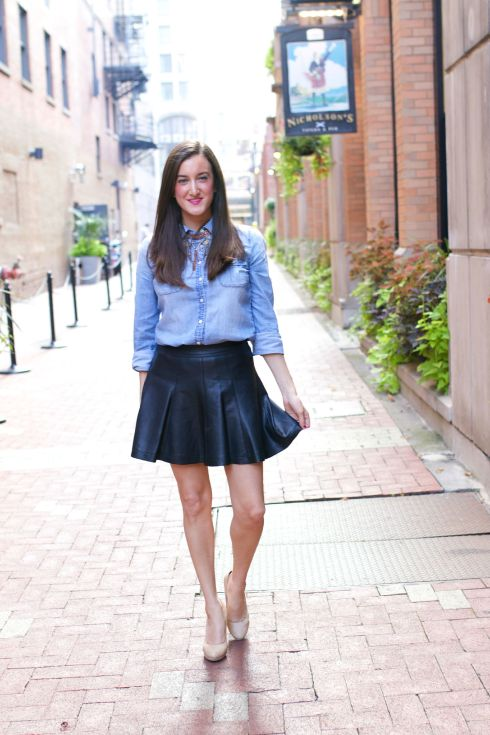 Pleated Leather Skirt with Chambray Shirt