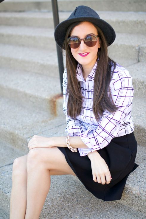 Black and White Plaid Shirt with Felt Hat
