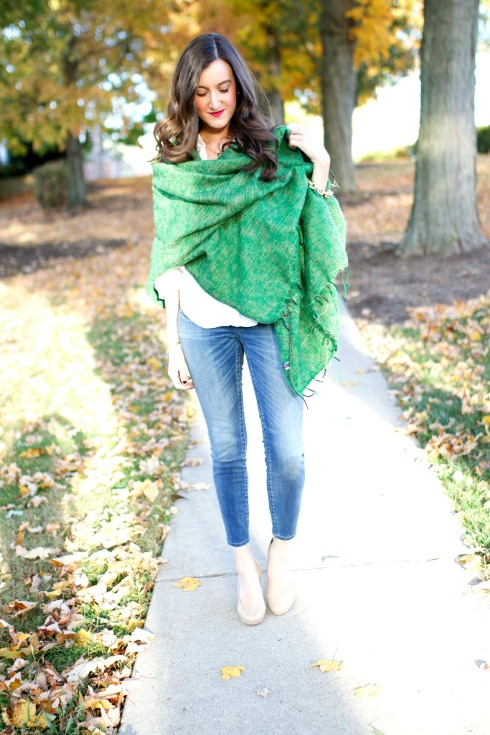 Madewell Skinny Jeans with Blanket Scarf