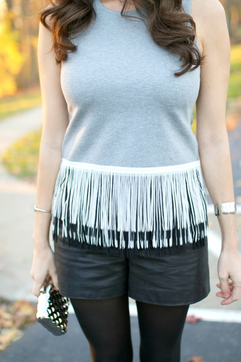 Black and Grey Fringe Top
