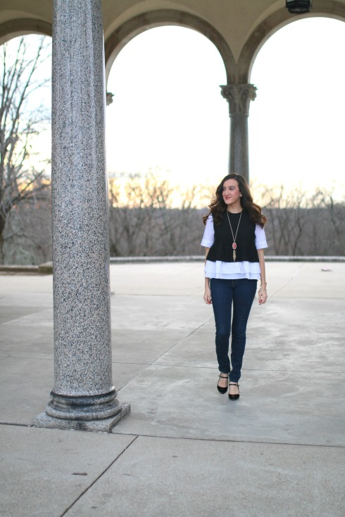 Dark Skinny Jeans with Anthropologie Top