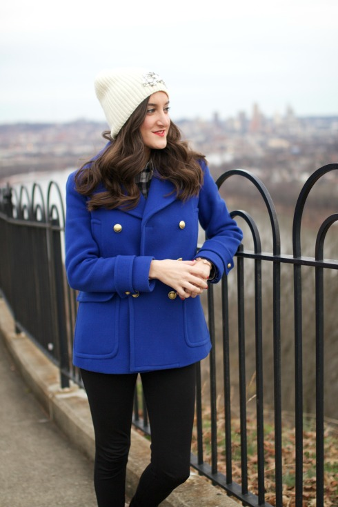 Blue Winter Coat with White Beanie