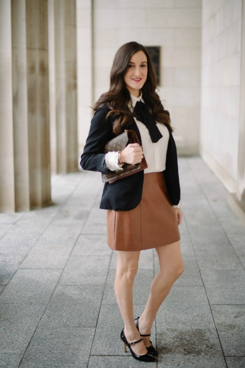 bow blouse brown leather skirt outfit