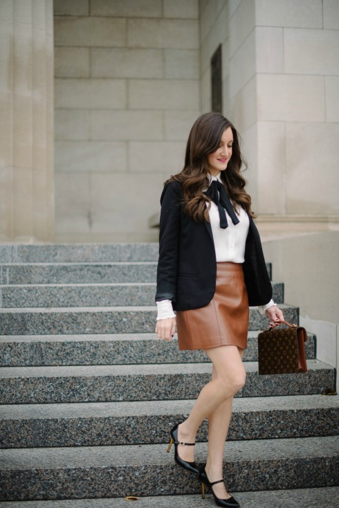 feminine outfit brown leather skirt