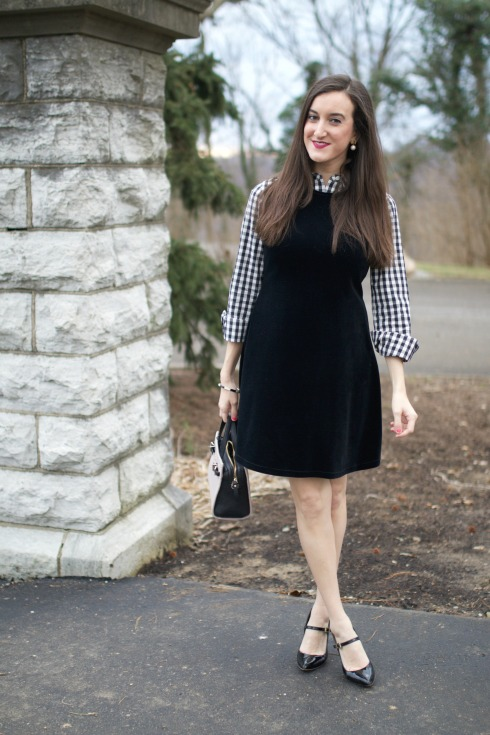 preppy winter outfit gingham