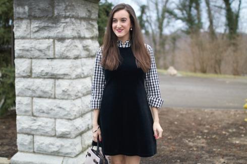 Gingham vineyard vines shirt velvet dress