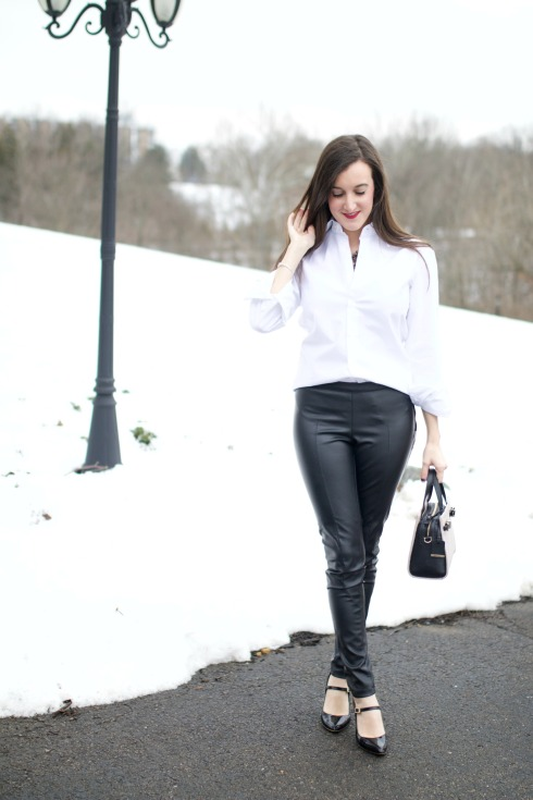 Leather Pants with White Button Down