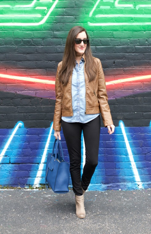 Chambray Shirt with Brown Leather Jacket
