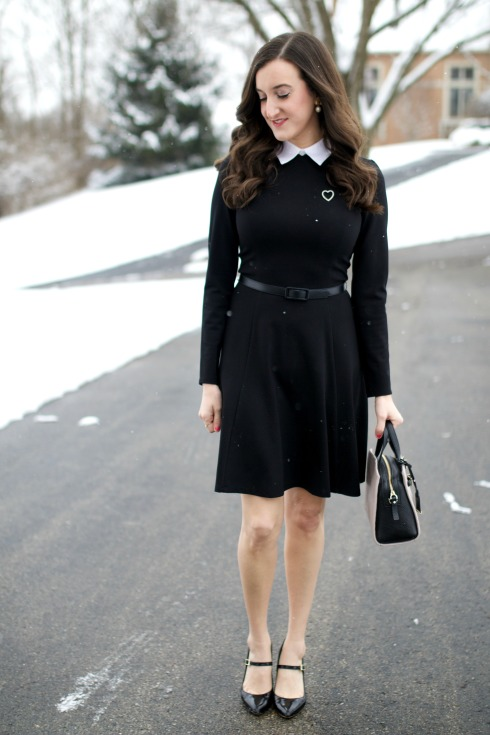 Black Long sleeve collared dress