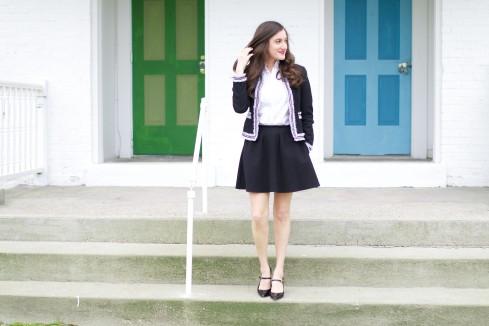 black and white tweed jacket