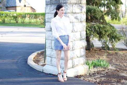 Blue White Gingham Shorts
