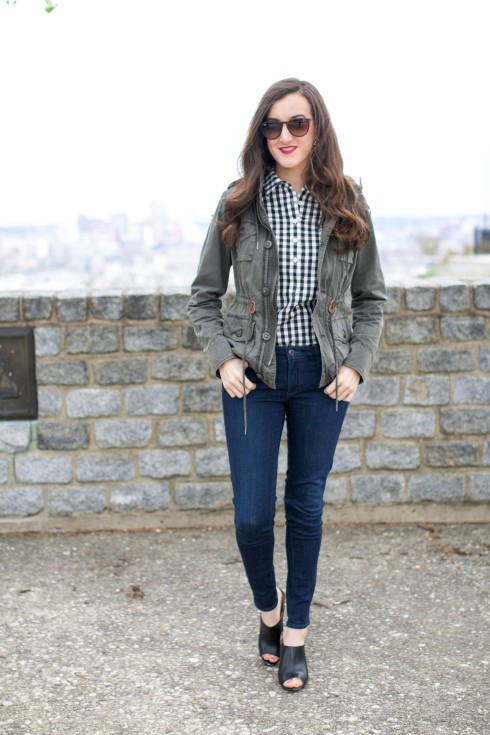 Gingham Shirt with Anorak Jacket