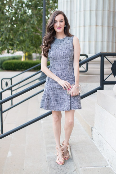 Tweed Fit And Flare Dress