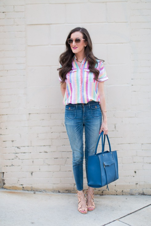 JCrew Striped Popover Shirt