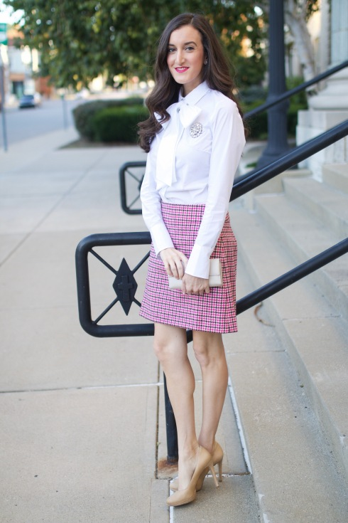Pink Houndstooth Skirt
